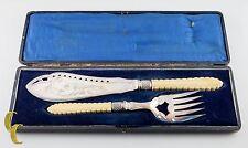 Vintage Fish Knife & Fork Serving Set Silver Plated w/ Tan Handles
