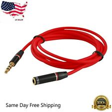 4FT 3.5mm 4-Pole AUX Extension Cable Stereo Audio Headphone Male to Female