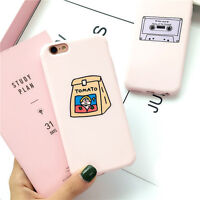 Cute Pink Cartoon Simple Pattern Soft Silicone Case Cover for iPhone 6 6S 7 Plus