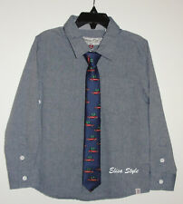 Sovereign Code Boys Button Front Shirt with a tie Long Sleeve in size 4