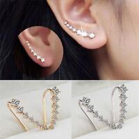 1 Pair Rhinestone Crystal Stud Ear Hook Sliver Gold Earrings For Women Girl Gift
