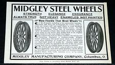 1907 OLD MAGAZINE PRINT AD, MIDGLEY STEEL CAR WHEELS, MORE FLEXIBLE THAN WOOD!