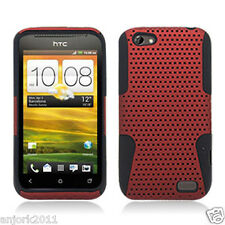 HTC ONE V MESH HYBRID HARD CASE SKIN COVER ACCESSORY RED BLACK