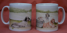 ENGLISH SETTER DOG MUG OFF TO THE DOG SHOW WATERCOLOUR PRINT SANDRA COEN ARTIST