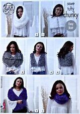 King Cole 5049 Knitting Pattern Snood Cowl Wrap Waistcoat