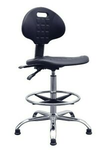 Lab Space Polyurethane Draughtsman Chair with Chrome Base