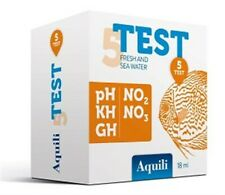 AQUILI TEST 5 IN 1 18 ml pH KH GH NO2 NO3 PER ACQUA ACQUARIO DOLCE E MARINO
