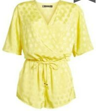 Stone Row Womens Hook It Up Romper Yellow Size M