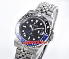40mm BLIGER black dial GMT Automatic mens watch steel bracelet Sapphire glass