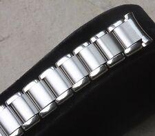Polished & satin spring link steel vintage watch band 16mm curved ends NOS 1960s