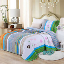 Floral Patchwork Bedspread Set Striped Single Size Bed Coverlets Quilted Throw