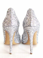NEW DESIGNER DSQUARED2 SILVER GLITTER POINTY TOE COVERED SPIKE HEEL SIZE 39-9 M
