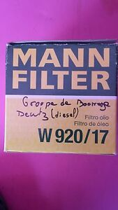 Filtre a huile MANN FILTER W920/17 Deutz VW Volkswagen Porsche FT4761 LS130 R61