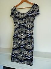 """Ladies Lovely New Look Black Mix Thigh Length Dress Size S, Pit~Pit 15"""" Vgc"""