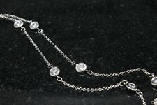 Platinum finish Sterling Silver CZ by the yard Station Necklace Cubic Zirconia