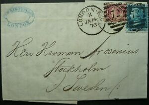 GB 14 JAN 1878 QV POSTAL ENTIRE FROM LONDON TO STOCKHOLM, SWEDEN - SEE!