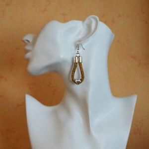 Kork Ohrhänger Ohrringe Cork #3 Korkschmuck, jedes Stück ein Unikat