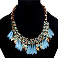 Fashion Charm Pendant Chain Crystal Jewelry Choker Chunky Statement Bib Necklace 8 Blue