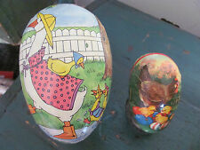 (2) Vintage West Germany Paper Mache Easter Egg Candy Containers, Geese/Chicks