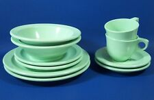 Green Melamine Dishes Vintage Plates Dinner Bread Butter Cup Saucer Bowl Salsey