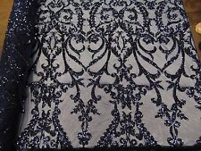"""SWEETHEART Damask 4-Way Stretch Mesh Lace NAVY Tiny Sequin Fabric  56"""""""