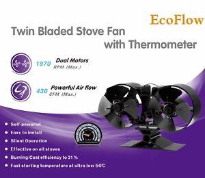 EcoFlow 2021 Design Wood/log Burner Mini twin 8 Blade Fan With Stove Thermometer