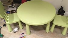 Kids Furniture Ikea Large Round Green Mammut table and 2 Chairs / Seats