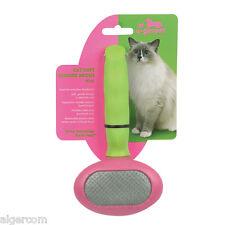 NEW UGroom Ergonomic Cat Kitten Soft Slicker Brush Comb Combo Pink Green Gift