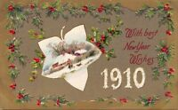 1910 WITH BEST NEW YEAR WISHES-EMBOSSED POSTCARD