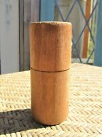Vintage WOODEN BOX w/ LID Round Hand Turned Threaded Jar