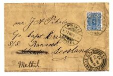 FINLAND: Cover to Scotland addressed to a boat 1897. Redirected.Arr.canc.