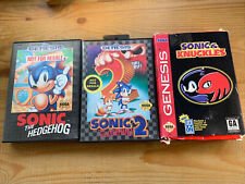 Sonic the Hedgehog Lot 1, 2, and Knuckles Sega Genesis In Original Box