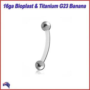 Bioplast Banana with Titanium G23 Body Piercing Bar Ring Ear Nipple Eyebrow