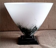 Seguso glass vase black & white large decorated  labelled Italian signed MCM