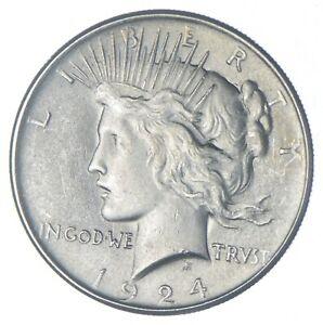 Choice AU/UNC 1924 Peace Silver Dollar - 90% Silver *917