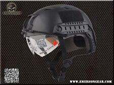 Airsoft bj type ops fast base jump casque + visière noir swat avec arc rails
