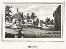 ARNSDORF BEI RADEBERG - TEILANSICHT - Kirchen-Galerie - Lithografie 1841