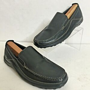 MINT COLE HAAN Tucker Mens 11M BLACK Leather Venetian DRIVING Slip-Ons Loafers