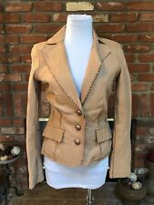 CACHE COUTURE BEAUTIFUL CAMEL TEXTURED WESTERN FLAIR LAMB LEATHER JACKET sz 0