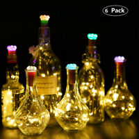 6x Crystal LED Fairy String Lights Wine Bottle Copper Cork Wire Lamp Party Xmas