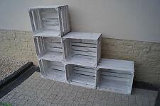 Set 6 pcs Amazing Wooden apple crates boxes box - 50x40x30 cm WHITE VINTAGE