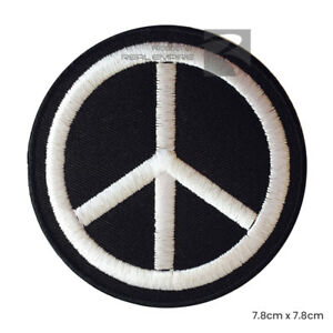 Peace Sign Symbol Sew On Iron on Embroidered Badge Patch For Clothes Bags etc