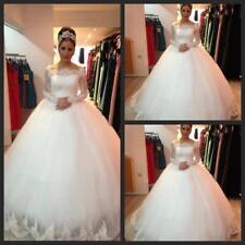 Women's Elegant Bridal Gowns Vestido Applique lace Long Sleeve Wedding dresses