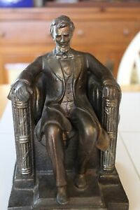 VTG DODGE INC BRONZED HEAVY CAST METAL SEATED ABRAHAM LINCOLN BOOKEND