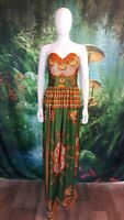 Womens Green Multocolor Tribal Pattern Strapless Maxi Dress (E)
