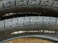 "20"" black gt performer tires pro freestyle tour bike dyno compe old bmx 110 psi"