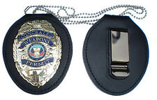 RECESSED HOLDER BELT CLIP + NECK CHAIN Concealed Weapons Badge NOT INCLUDED!