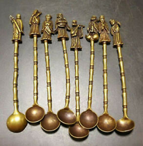 Chinese Old Brass Handmade Carved eight immortals Small spoon (8 pieces)
