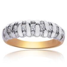 0.35 Carat Round Cut Diamond Multi-Row Ring 14K Two Tone Gold