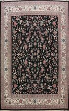 Floral BLACK Kirman Oriental Area Rug Hand-knotted Wool Oversize Carpet 12x15 ft